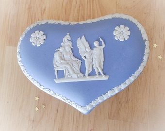 Vintage Heart Shaped Wedgewood Trinket Box. Blue and White Porcelain Box. Collectable. Valentine's Gift