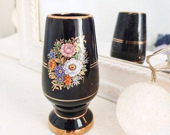 Vintage porcelain vase, handmade, cobalt blue and 24k gold china holder made in Italy