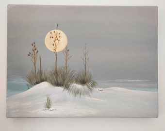 Winter landscape, small acrylic painting, handpainted artwork, wall decor, ready to hang