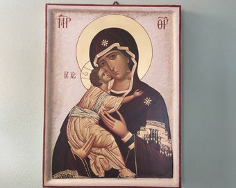 Handpainted icon, Madonna of Don, egg tempera and gold leaf on wood, traditional art, original artwork, religious painting