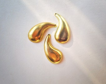 Vintage brass charms stampings teardrops or leaves art deco, lot of 6