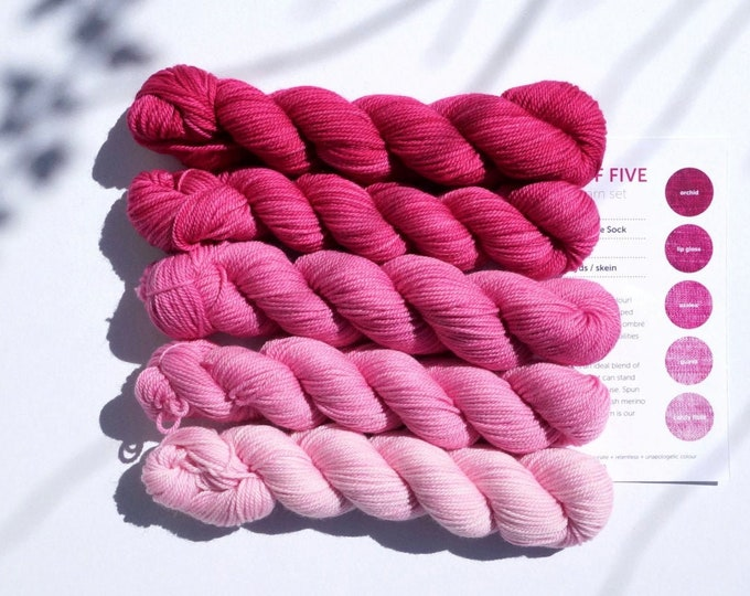 Party of Five mini skeins yarn by Sweetgeorgia Yarns, Hanami colour way of light pink to dark pinks, 3 ply sock yarn merino wool