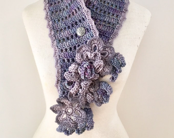 Floral Elegance Scarf, long scarf, purple merino wool, purple scarf, floral scarf, SPECIAL EDITION, ready to ship, Woman's Scarf, floral