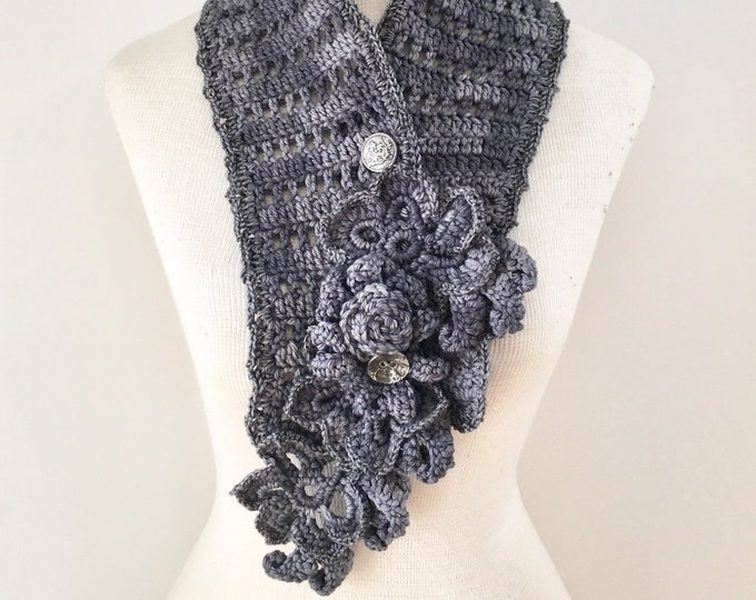 Floral Elegance Scarf, long scarf, Gray scarf, Dark Gray merino, floral scarf, SPECIAL EDITION, ready to ship, Woman's Scarf, floral