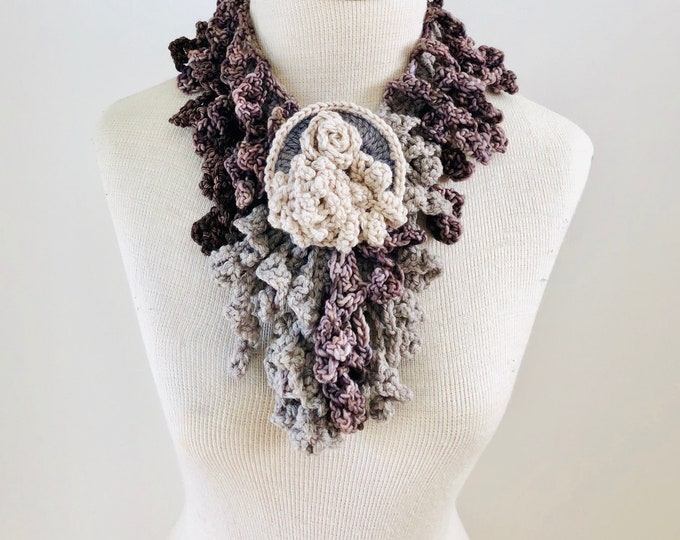 Beige Floral Scarf, Free Shipping, beige, brown, gray, ivory, Floral Scarf, READY to SHIP, floral brooch, woman's scarf, rose scarf