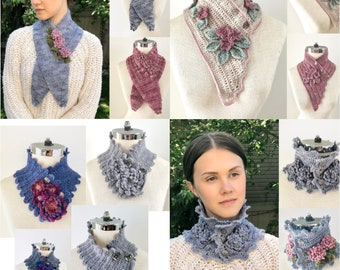 Floral Botanical Scarves Crochet Pattern Collection, includes 4 beautiful crochet scarf patterns, floral scarf, crochet scarf pattern,