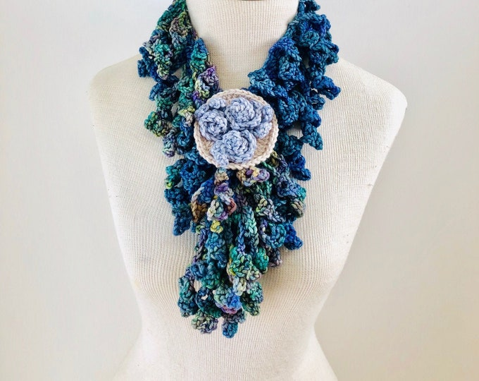 Teal blue Rose Scarf, Free Shipping, teal, blue, green Rose Scarf, READY to SHIP, floral rose brooch, woman's scarf, rose scarf, blue scarf,