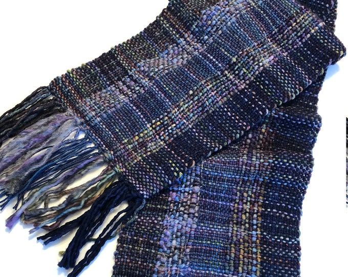 Navy Blue Woven Scarf handmade scarf in merino wool in navy with various hand painted colours that go perfectly, scarf, merino scarf