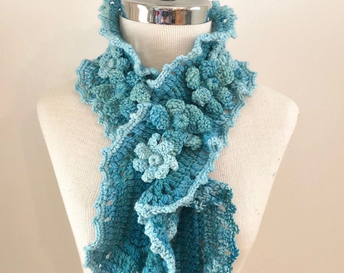 Turquoise Floral scarf, Free shipping, handmade scarf in blue, hand painted Merino Wool, Crochet Scarf