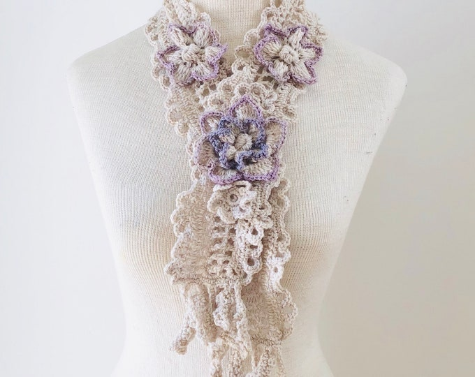 Floral scarf, ivory mauve floral scarf, accent scarf, floral scarf, ready to ship Woman's Scarf,
