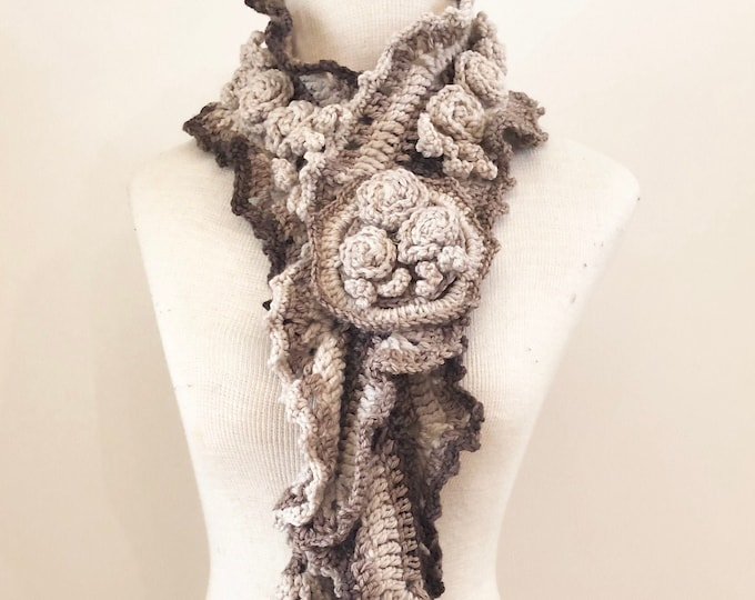Rose Ruffle Scarf, free shipping, ivory to brown, X Long version, Rose scarf, Woman's scarf, handpainted Merino Wool, Crochet Scarf