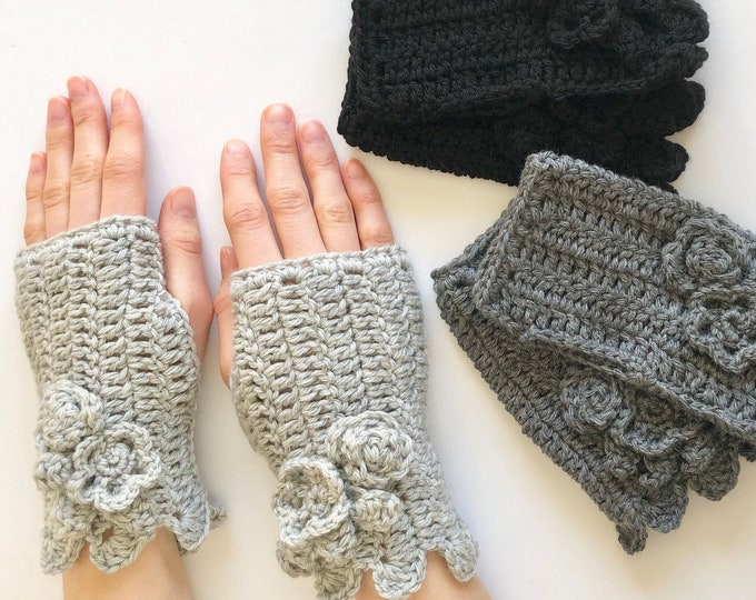 Floral Hand Warmers in 3 colours: light gray, dark gray, black, Floral Rose, hand painted merino wool, Pass it Forward Collection
