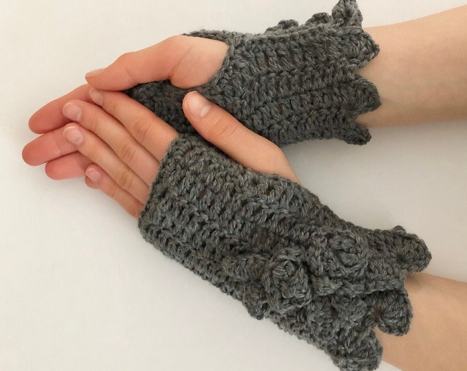 Rose Hand Warmers in dark gray merino wool, Rose Onie Collection, hand painted merino wool, READY TO SHIP, Arm Warmers, Fingerless Gloves