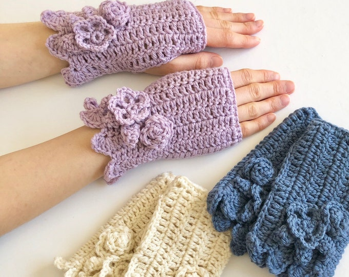 Floral Hand Warmers in 3 colours: denim blue, lilac, ivory, Collection, hand painted merino wool, Pass it Forward Collection