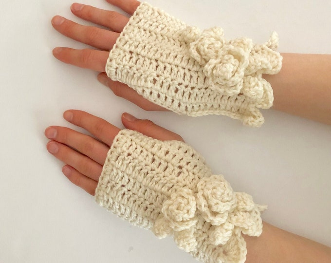 Rose Hand Warmers in Ivory merino wool, Rose Onie Collection, hand painted merino wool, READY TO SHIP, Arm Warmers, Fingerless Gloves