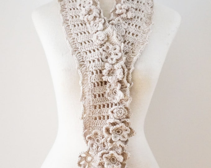 Floral Bliss Scarf in an ivory with various elegant flowers throughout, floral scarf, READY to SHIP, One of a Kind, lace scarf, scarf