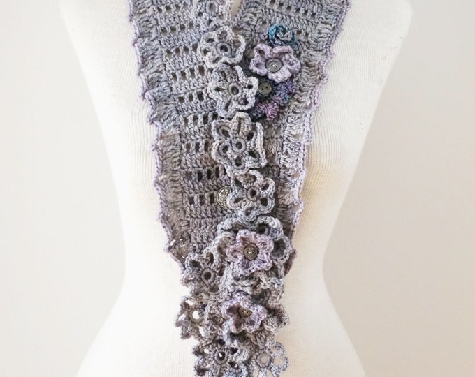 Floral Bliss Scarf in a gray & mauve with various elegant flowers throughout, floral scarf, READY to SHIP, One of a Kind, lace scarf, scarf