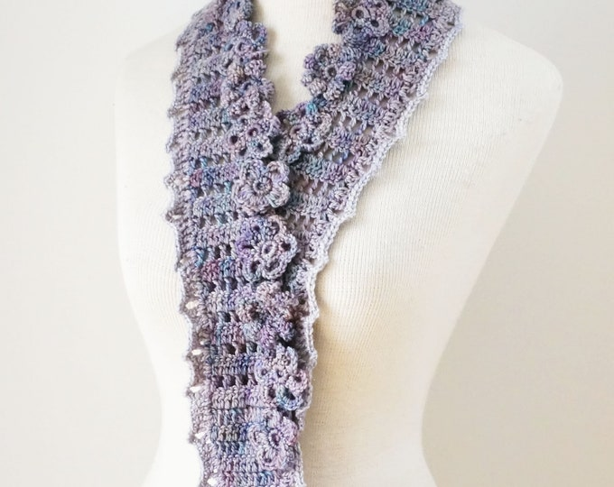 Floral Bliss Scarf in a mauve, blue combo with small elegant flower, floral scarf, SPECIAL EDITION, One of a Kind, lace scarf, scarf