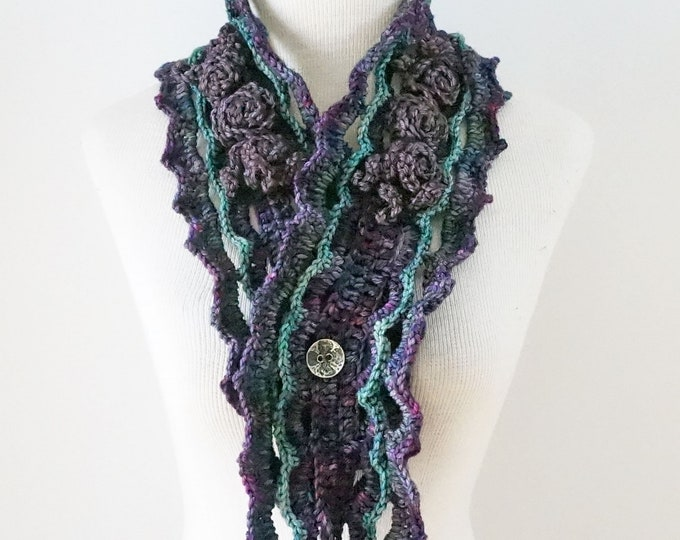 Elegant Rose Scarf in purple and teal blue green, hand painted Merino Wool, Crochet Scarf, Rose Scarf, One of a Kind, READY to SHIP