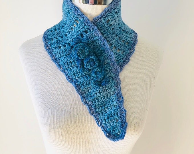 Rose Neck Warmer scarf, rose scarf, READY to SHIP, denim blue, blue scarf, rose scarf, woman's scarf, scarf,