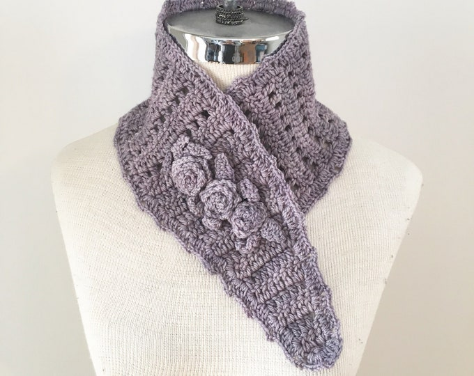 Rose Neck Warmer scarf, purple scarf, rose scarf, READY to SHIP, women's scarf, gray scarf, scarf