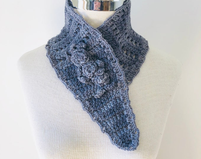 Rose Neck Warmer scarf, rose scarf, READY TO SHIP, dark grey, gray scarf, rose scarf, woman's scarf, scarf,