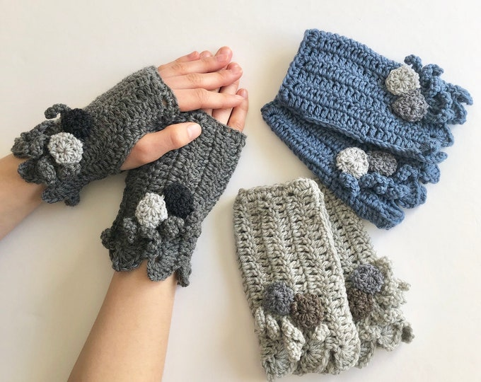Beach Stone Hand Warmers in 3 colours: light gray, dark gray, denim blue,  Beach stone, hand painted merino wool, Pass it Forward Collection