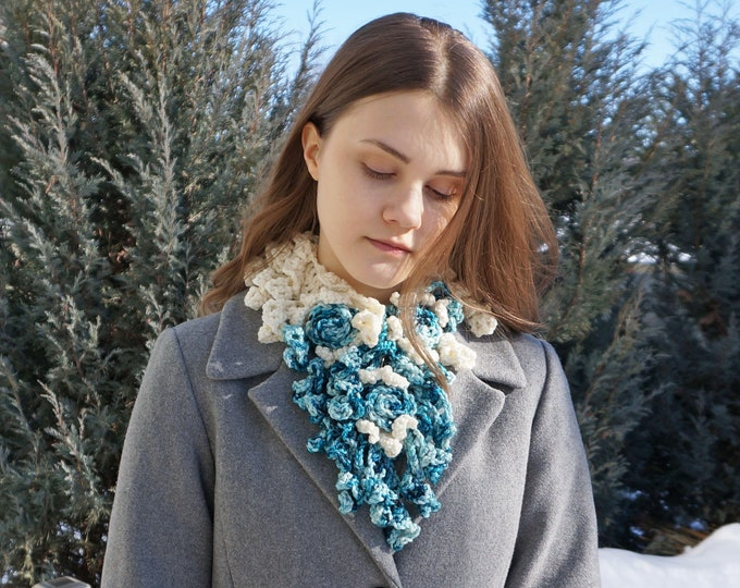 Blue and Ivory Rose Scarf, Free Shipping, Scarf, purple, ivory white, hand painted Merino Wool, merino wool, purple scarf