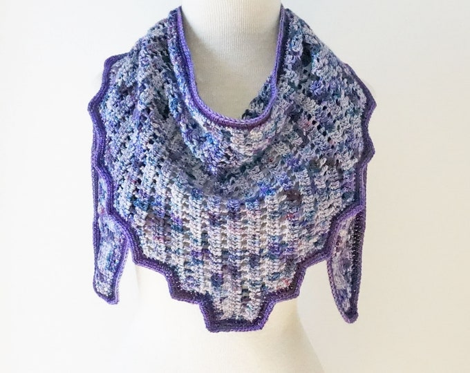 Lace Wrap Scarf, free shipping, triangular wrap, hand painted silk & merino wool, purple lace scarf, long lace scarf, purple scarf