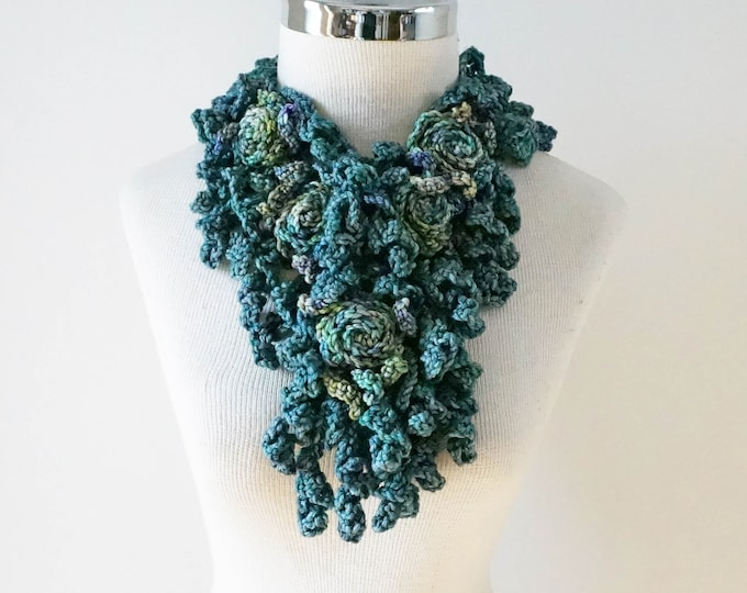 Teal blue Rose Scarf, teal, blue, green Rose Scarf, READY to SHIP, one only, woman's scarf, rose scarf, blue scarf,