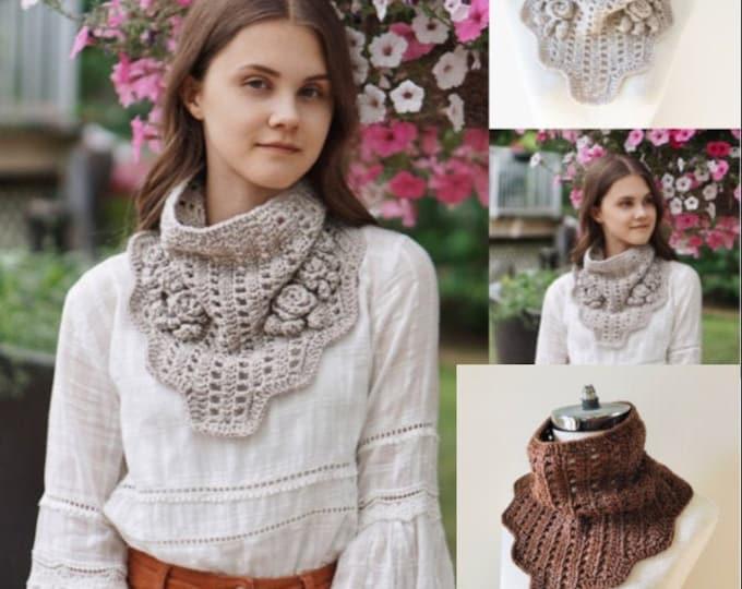 Rose Cowl Scarf Crochet pattern, crochet scarf pattern, Neckwarmer pattern, scarf pattern, crochet scarf pattern, scarf
