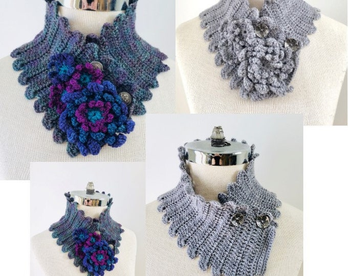 Juliette Floral Scarf Crochet pattern, crochet scarf pattern, Neckwarmer pattern, scarf pattern, floral scarf, crochet scarf pattern, scarf