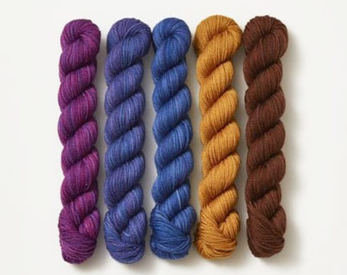 Party of Five yarn by Sweetgeorgia Yarns, Blueberry Cobbler colour way of various colours, 3 ply sock yarn merino wool