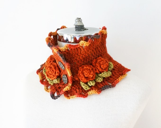 Rose Scarf, Orange Rose Scarf, Rose Collar scarf, 1 of each available,  handmade, READY to SHIP, scarf, merino, woman's scarf