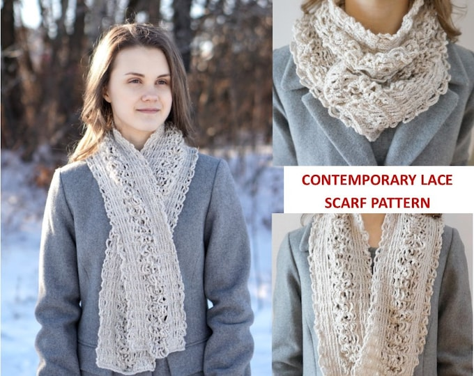 Contemporary Lace Scarf Crochet pattern, elegant lace scarf, long scarf, crochet lace scarf pattern, scarf pattern