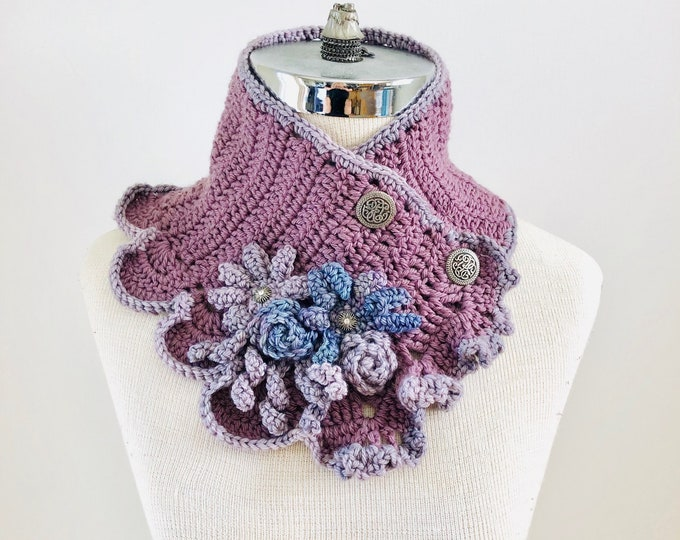 Floral Scarf, Rose, Daisy, scarf, Free Shipping, ONE of a kind, READY to ship, mauve scarf, neck warmer scarf, purple floral scarf
