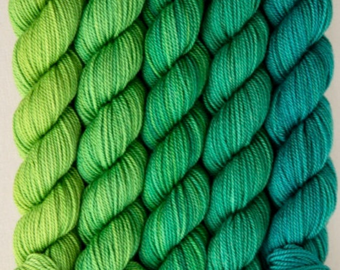 Green Sock Yarn, Party of Five mini skeins, Emeral Green, Tough Love Sock Yarn, Sweetgeorgia Yarns, Emerald colour way of green