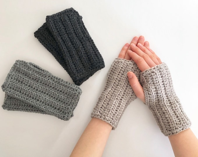 Classic Arm Warmers, available in gray, dark gray, merino wool, arm warmers, Pass it Forward Collection, woman's hand warmers