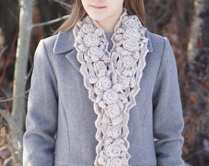 Crochet Scarf Pattern: Elegant Rose Long (X Long) Scarf crochet pattern, rose scarf pattern, crochet pattern, scarf crochet pattern