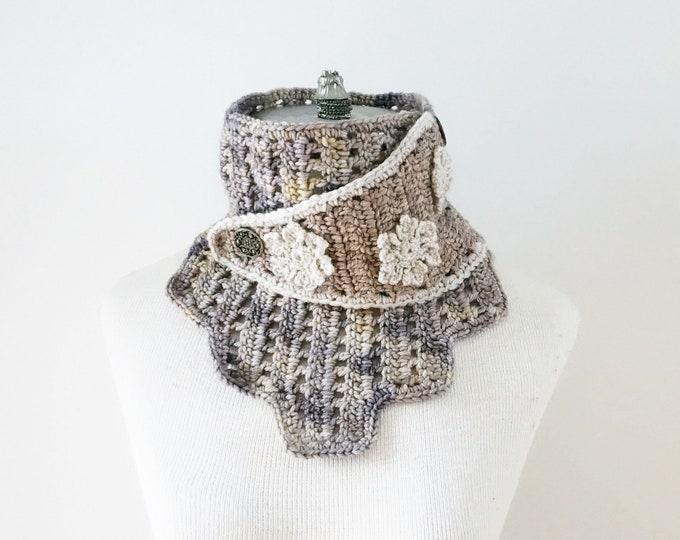 Beige Snowflake Wrap Scarf, merino wool scarf, cowl scarf, snowflake scarf, handmade scarf, neck warmer, womans scarf, beige scarf