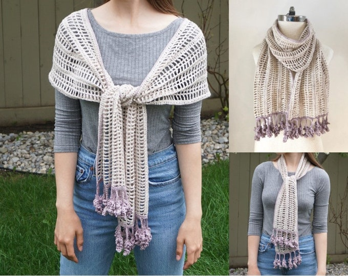 Lavender and Lace Shawl Crochet Pattern, Lavendar and Lace Scarf Pattern, scarf pattern, crochet, crochet pattern, floral lace scarf pattern