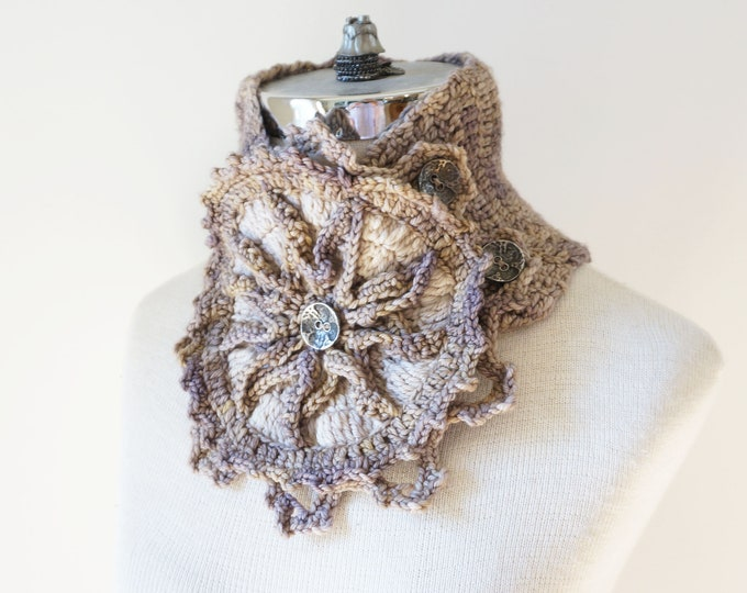 Beige Scarf with a Architectural Rose Window design from the ART-chitecture Collection, merino wool scarf, cowl scarf, one of a kind scarf