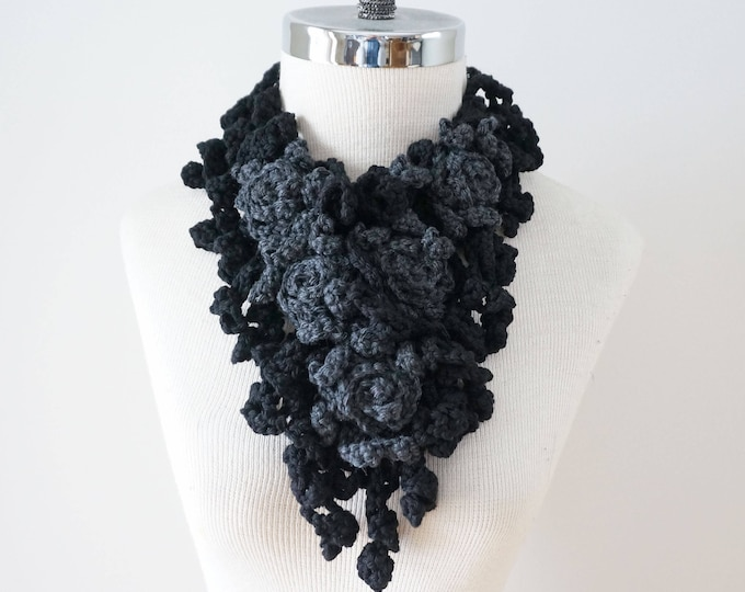 Rose Scarf, Free Shipping Black Grey Crochet Scarf, READY to SHIP, Merino Wool, Black Grey Rose Scarf, black scarf, gray scarf, gift for her