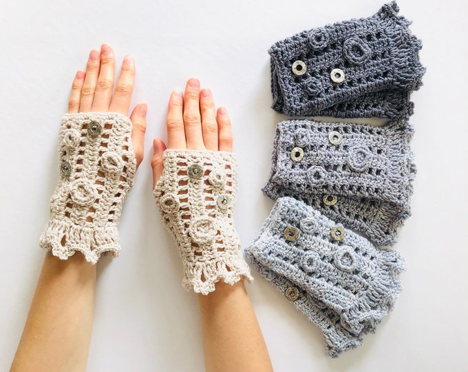 Contemporary arm warmers in 4 colours including ivory, light gray, gray and dark gray, arm warmers, Pass it Forward Collection,
