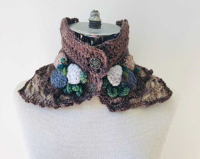 Beach Stone scarf, Brown, Beige, Lace Scarf, READY to SHIP, merino wool, beige collar scarf, neck warmer, One of a kind, woman's scarf