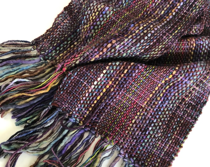 Purple Woven Scarf, hand painted merino wool in purple with various hand painted colours that go perfectly, scarf, merino scarf