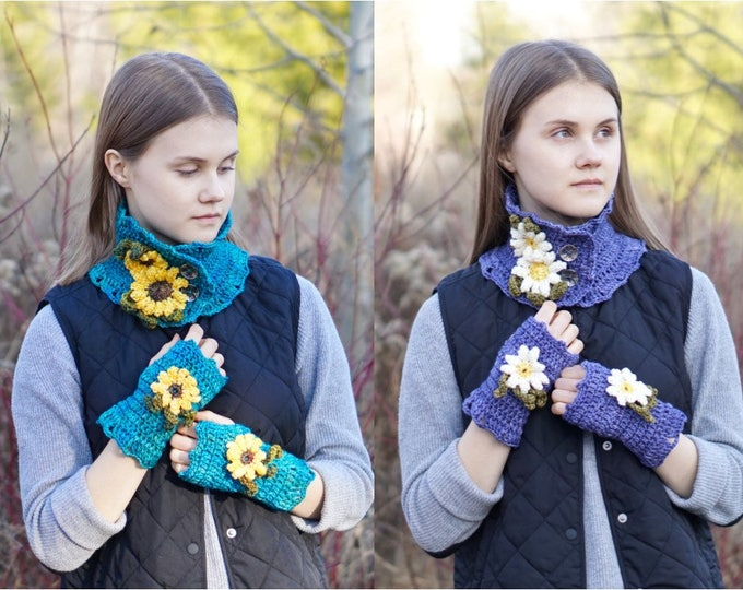 Scarf Pattern: Sunflower and Daisy Scarf and Arm Warmer pattern, Crochet Pattern, Scarf pattern, hand warmer pattern, floral crochet pattern