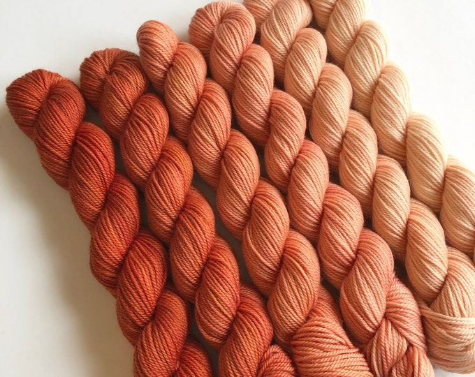 SALE Orange mini skein yarn, Save 10.00 cdn, Yarn, Sunkissed fade colour way of various orange shades, 3 ply sock yarn merino wool