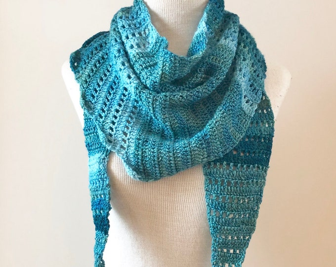 Blue Lace Scarf, free shipping, triangular wrap scarf, hand painted merino wool and silk, blue lace scarf, large scarf, turquoise scarf,