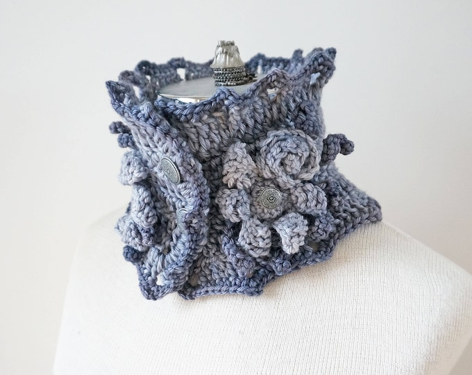 Floral Collar Scarf, gray scarf, Rose and floral Lace scarf, READY to SHIP, Two toned gray scarf, Merino Wool Rose Scarf,